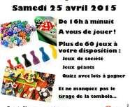 Grande soirée Jeux pour tous, samedi 25 avril à Fleury la Vallée 89
